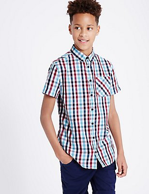 Pure Cotton Gingham Shirt (3-14 Years), MULTI, catlanding