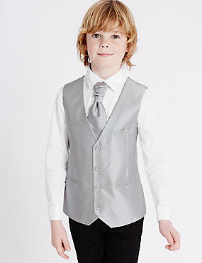 3 Piece Waistcoat, Shirt & Cravat Outfit (3-14 Years), SILVER MIX, catlanding