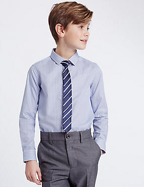 Striped Shirt with Tie (3-14 Years), BLUE MIX, catlanding