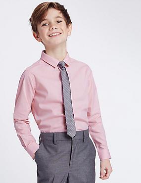 Overhemd met stropdas en stippenmotief (3-14 jaar), ROZE MIX, catlanding
