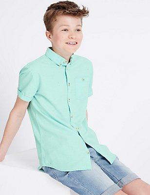 Cotton Rich Shirt (3-14 Years), LIGHT JADE, catlanding