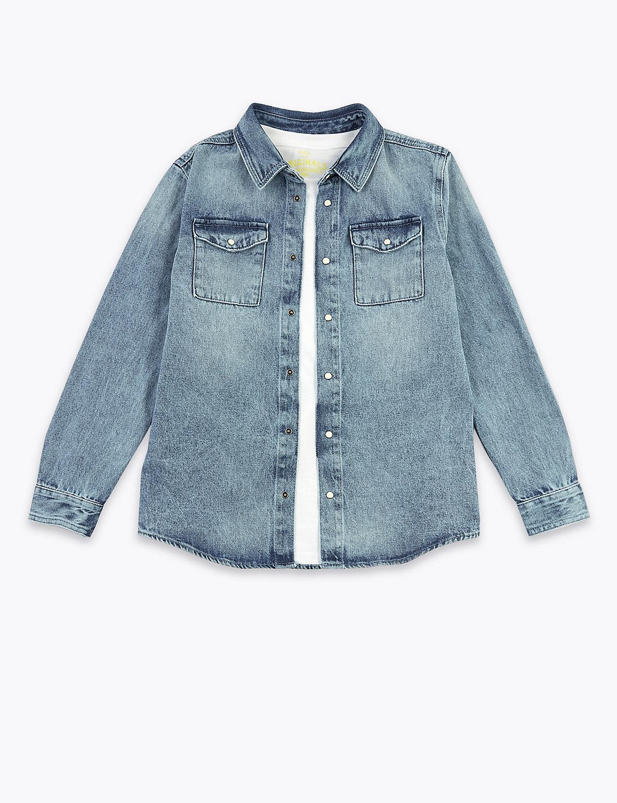 Джинсовая рубашка с карманами и футболка для мальчика