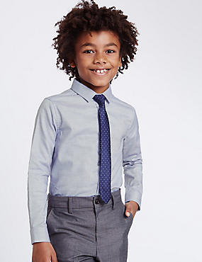 Textured Shirt with Tie (3-14 Years), BLUE MIX, catlanding
