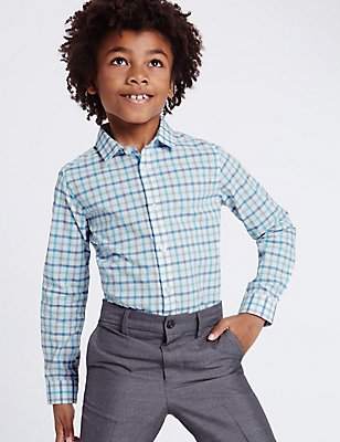 Pure Cotton Checked Shirt (3-14 Years), WHITE MIX, catlanding