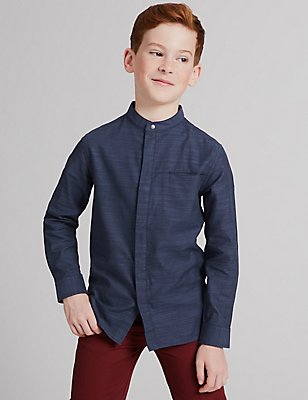Pure Cotton Textured Shirt (3-14 Years), NAVY MIX, catlanding