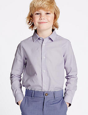 Pure Cotton Textured Shirt (3-14 Years), LILAC, catlanding