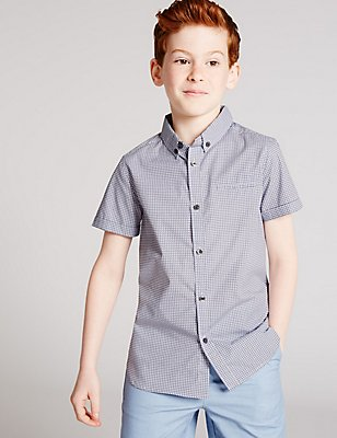 Pure Cotton Geometric Print Shirt (3-14 Years) , MINT MIX, catlanding