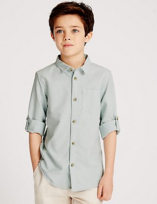 Pure Cotton Long Sleeve Shirt (3-14 Years) , MINT, catlanding