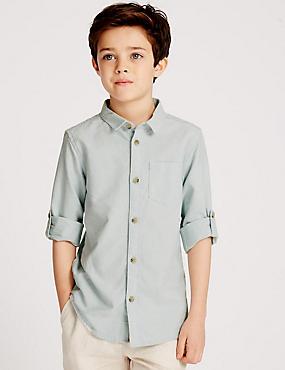 Pure Cotton Long Sleeve Shirt (3-14 Years) , MINT, catlanding