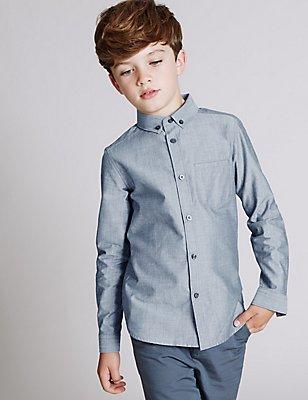 Pure Cotton Long Sleeve Shirt (3-14 Years), GREY BLUE, catlanding