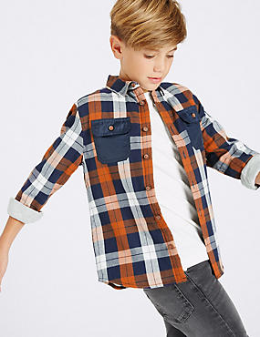 Pure Cotton Checked Shirt (3-14 Years), MULTI, catlanding