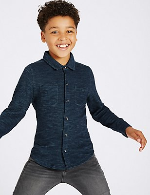 Pure Cotton Textured Shirt (3-14 Years), MULTI, catlanding