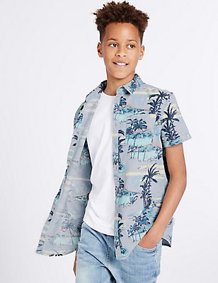 Pure Cotton All Over Print Shirt (3-14 Years), MULTI, catlanding