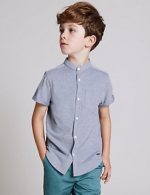 Cotton Rich Grandad Collar Shirt (3-14 Years), PALE BLUE, catlanding