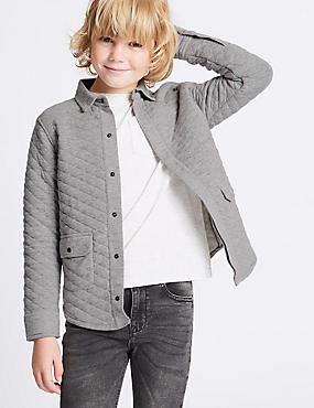 Cotton Rich Quilted Shacket Shirt (3-14 Years), MEDIUM GREY, catlanding