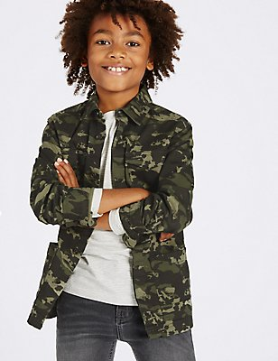 Camouflage Print Cotton Shirt with Stretch (3-14 Years), BLUE MIX, catlanding