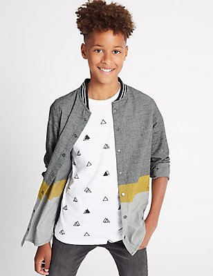 Pure Cotton Colour Block Shirt (3-14 Years), GREY MIX, catlanding