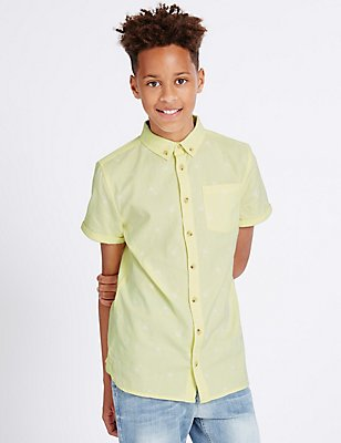 Pure Cotton Embroidered Shirt (3-14 Years), PALE LIME, catlanding