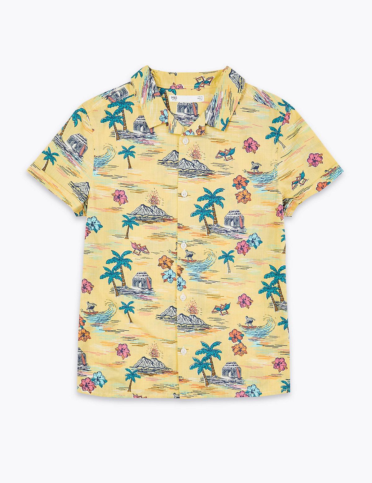 Рубашка с тропическим принтом из 100% чистого хлопка