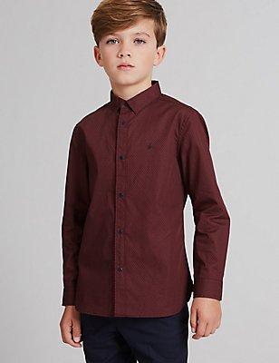 Overhemd met print van puur katoen (3-14 jaar), WIT MIX, catlanding