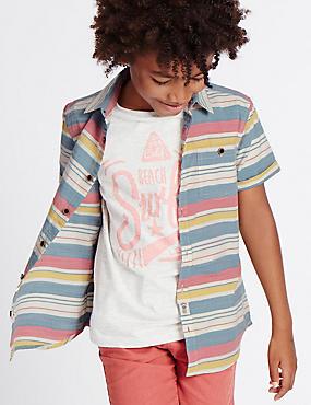 Gestreept overhemd van puur katoen (3-14 jaar), MULTI, catlanding