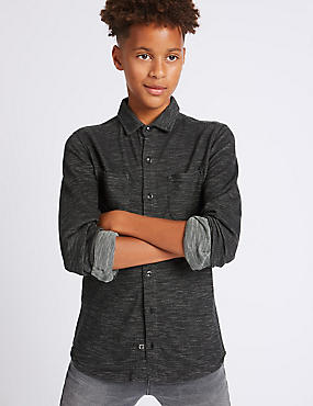 Pure Cotton Textured Shirt (3-14 Years), BLACK MIX, catlanding