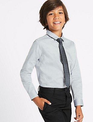 Textured Shirt with Tie (3-14 Years), GREY MIX, catlanding