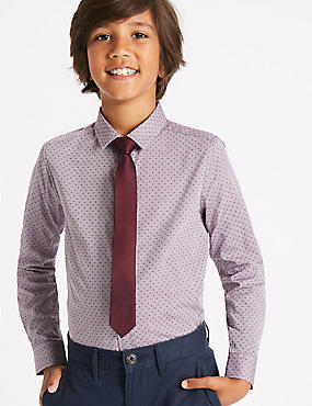Spotted Shirt with Tie (3-14 Years), RED MIX, catlanding
