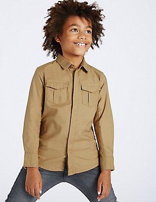 Pure Cotton Long Sleeve Shirt (3-14 Years), STONE, catlanding