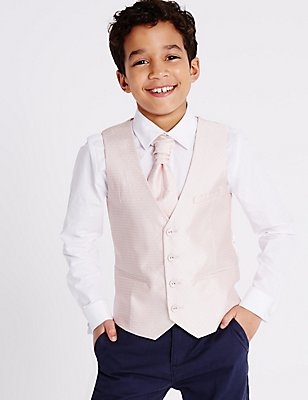 3 Piece Waistcoat, Shirt & Cravat Outfit (3-14 Years), PINK MIX, catlanding