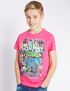 Pure Cotton Super Cool Slogan T-Shirt (5-14 Years)