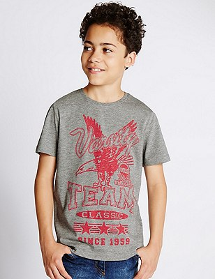 Cotton Rich Eagle Print T-shirt (5-14 Years), GREY MIX, catlanding