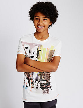Pure Cotton Manhattan & Brooklyn City Print T-Shirt (5-14 Years)