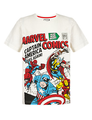 Pure Cotton Marvel Comic Characters T-Shirt with Stickers (5-14 Years) Clothing
