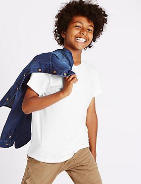 T-shirt 100% coton à manches courtes (du 5 au 14ans), BLANC, catlanding