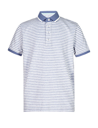 Pure Cotton Birdseye Striped Polo Shirt Clothing