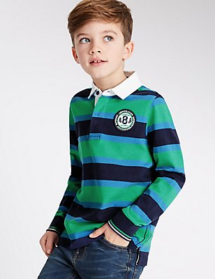 Pure Cotton Rugby Top (3-14 Years), BLUE MIX, catlanding