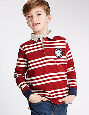 Pure Cotton Striped Rugby Top (3-14 Years), RED MIX, catlanding
