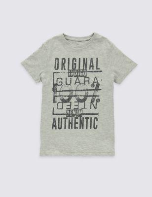 Хлопковая футболка со слоганами для мальчика 3-14 лет T872637U