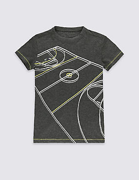 Basketball Court Print T-Shirt (5-14 Years), GREY MARL, catlanding
