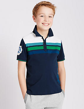Pure Cotton Striped Panel Polo Shirt (5-14 Years)