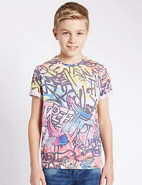 Grafiti Print T-Shirt (5-14 Years)