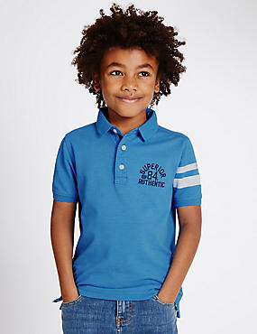 Cotton Rich Polo Shirt (3-14 Years), BLUE, catlanding