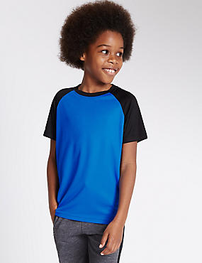 Textured Short Sleeve T-Shirt (5-14 Years), BLUE, catlanding