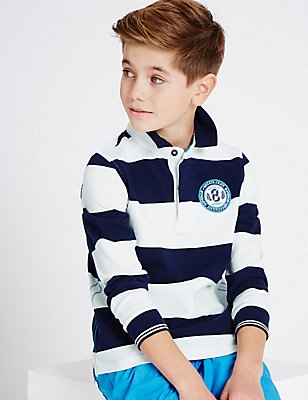 Pure Cotton Striped Rugby Top (3-14 Years), BLUE MIX, catlanding