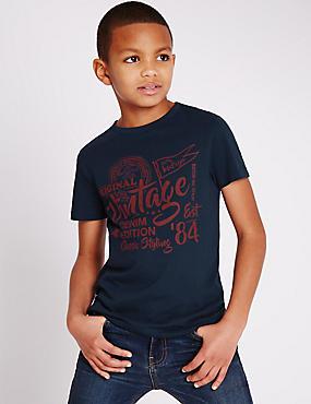 T-shirt 100% coton à manches courtes (du 3 au 14ans), DENIM, catlanding