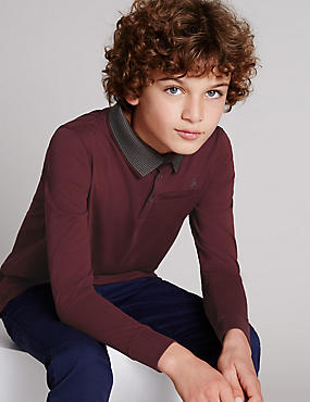 Pure Cotton Polo Shirt (5-14 Years), BERRY, catlanding