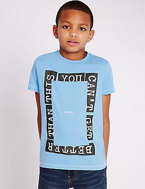 T-shirt en coton mélangé à manches courtes (du 5 au 14ans), BLEU ASSORTI, catlanding