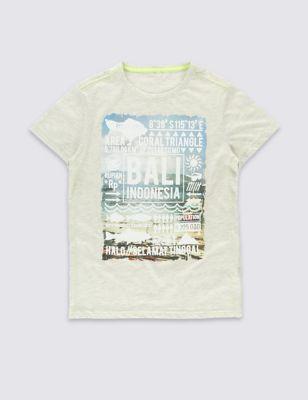 Хлопковая футболка с надписями Bali для мальчика 5-14 лет от Marks & Spencer