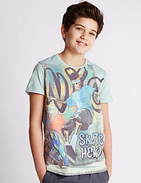 Skeleton Skate Print T-Shirt (5-14 Years)